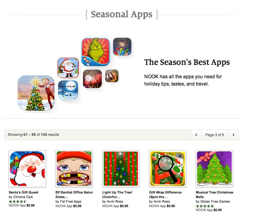 Seasons Best on Nook app store Dec 2013